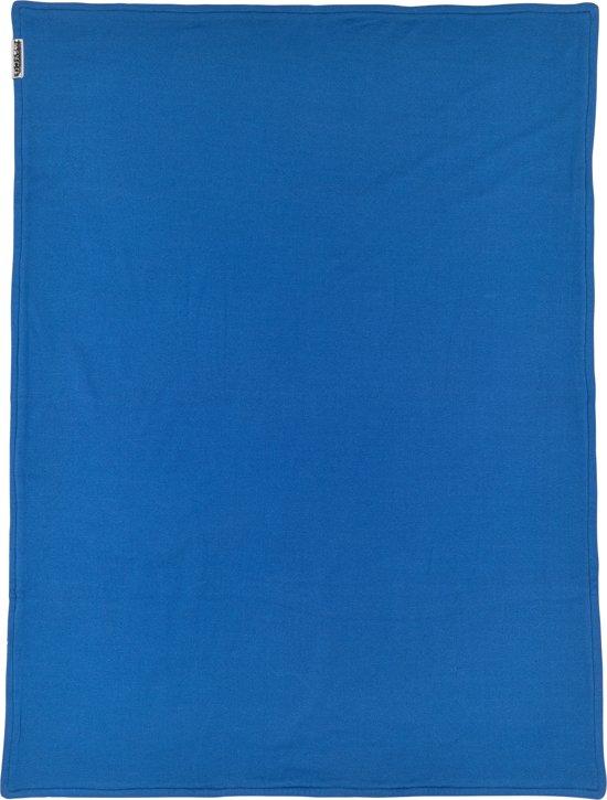 Meyco ledikantdeken Knit basic met velvet - 100x150 cm - bright blue