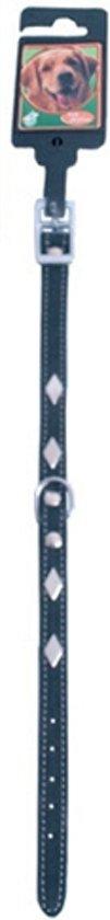 Halsband nubuck met metalen ruiten zwart 12mm - 30cm