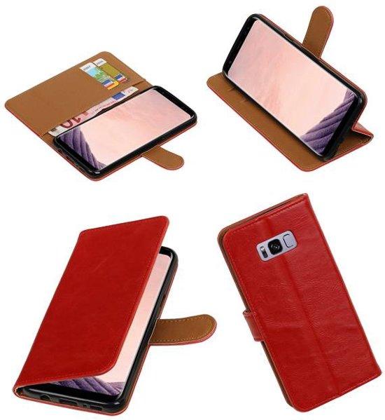 Rood vintage lederlook bookcase wallet hoesje voor Samsung Galaxy S8 Plus in Buren