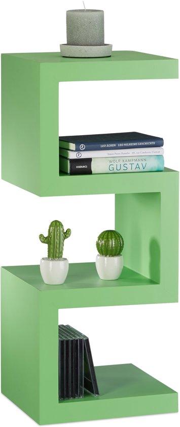 relaxdays retro kastje kleurrijk zigzag design boekenkast smalle kast open ontwerp groen
