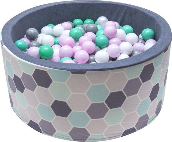 Ballenbak | Bijenraam incl.  200 witte, grijze, groene en roze ballen