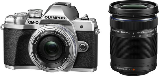 Olympus OM-D E-M10 Mark III + EZ-M 14-42mm EZ + EZ-M 40-150 R - Zwart/Zilver