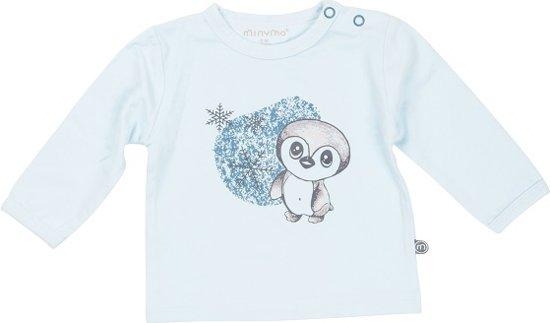 Minymo Chin newborn baby shirt blauw - Maat 68
