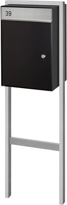 Brievenbus (Zwart) vrijstaand model met grondplaat