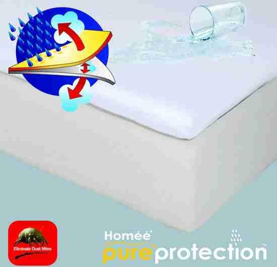 Homéé - Topper Molton flanel hoeslaken waterdicht PU 180x220+10cm 100% geruwd katoen 220g. p/m2
