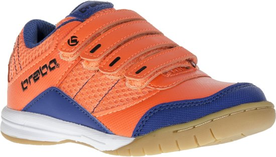 Velcro Brabo - Chaussures En Cuir De Hockey - Junior - Bleu Marine, Orange - Taille 30