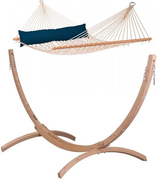 Hangmatset:Kingsize hangmat met spreidstok ALABAMA navy blue + Standaard voor Familie en Kingsize hangmatten CANOA