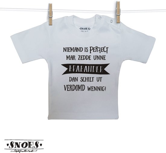 Baby Shirt Wit korte mouw Snoes Niemand perfect Brabants 50/56