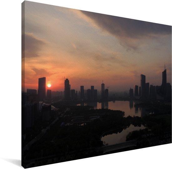 Kleurrijke zonsopgang over het Chinese Hefei Canvas 160x120 cm - Foto print op Canvas schilderij (Wanddecoratie woonkamer / slaapkamer) XXL / Groot formaat!
