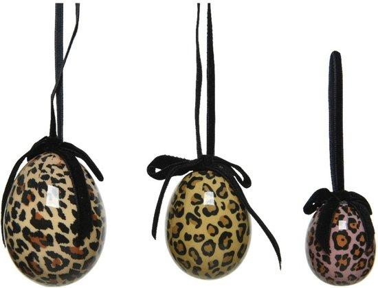 12x Pasen decoratie paaseieren luipaardprint 4-5-6 cm - Paastakken versieringen/decoraties paaseitjes