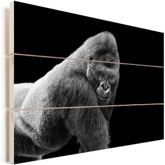 Een schitterende Gorilla kijkt naar beneden Vurenhout met planken 60x40 cm - Foto print op Hout (Wanddecoratie)