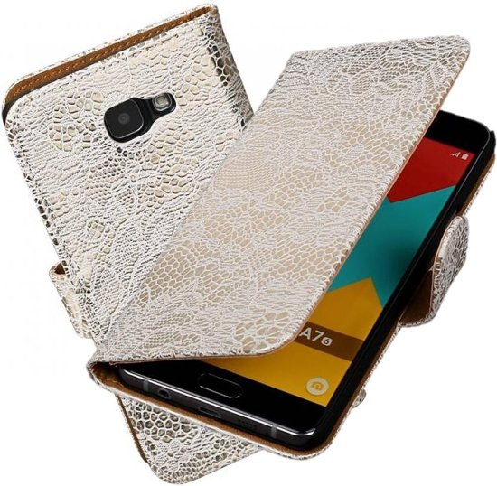 Wit Lace Booktype Samsung Galaxy A7 2016 Wallet Cover - Cover Book - Case Style Samsung Galaxy A7 2016 smartphonehoesje - telefoon cover - beschermhoes in Papignies