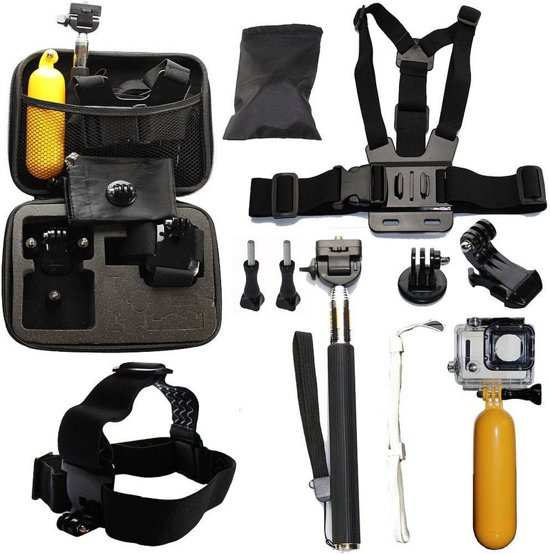 accessoires set 10 in 1 voor eken en gopro action camera in luxe opbergkoffer. Black Bedroom Furniture Sets. Home Design Ideas