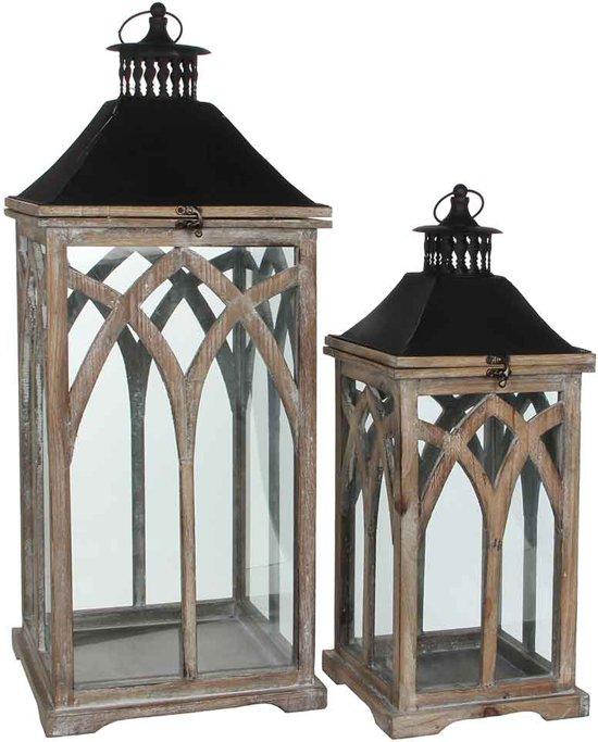 Mica Decorations lantaarn bruin set van 2 grootste maat in cm: 30 x 30 x 72