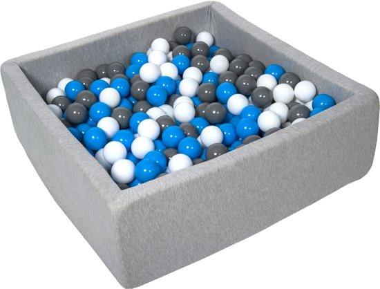 Ballenbak - stevige ballenbad - 90x90 cm - 450 ballen Ø 7 cm - wit, blauw, grijs.