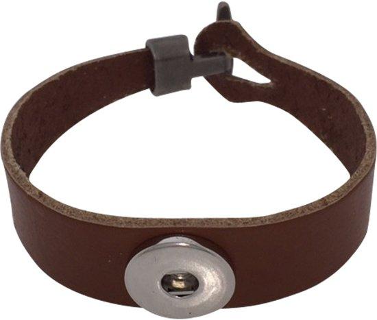 Lederen armband voor click buttons bruin Kleur:Bruin - Lengte:20 cm