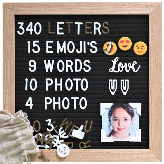 Gadgy® Letterbord zwart vilt met standaard – 25x25cm – 340 letters/cijfers en icoontjes wit en goud