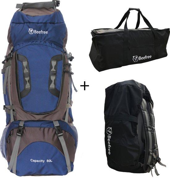 84af20b6dd5 Beefree 80 Liter nylon Backpack - Blauw   Inclusief flightbag/regenhoes