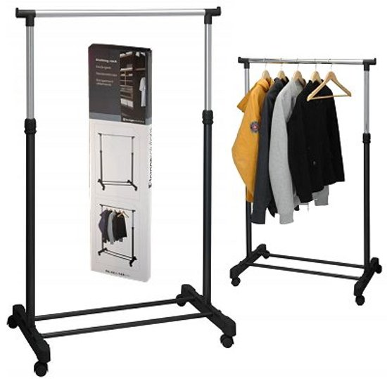 Storage Solutions - Mobiel Kledingrek met wielen - 80 x 42 x 165 cm