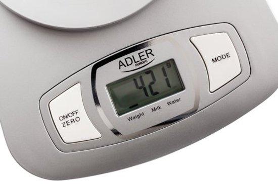 Adler ad 3137 zilveren elektronische keukenweegschaal