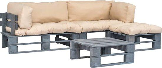 vidaXL 4-delige Loungeset pallet met zandkleurige kussens FSC hout
