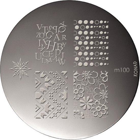KONAD nagel stempel M100 met 5 nagel figuurtjes (letters, bloemen, ster en andere motieven).