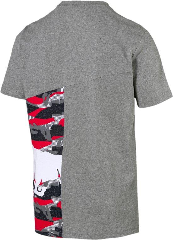 PUMA Red Bull Racing Double Bull Tee Shirt Heren - Medium Gray Heather