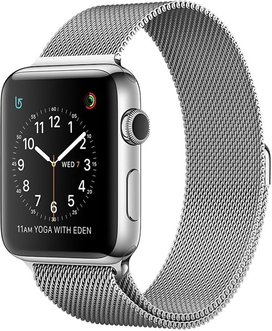 Apple Watch Series 2 Smartwatch 42mm - Zilver Roestvrij staal / Milanese band