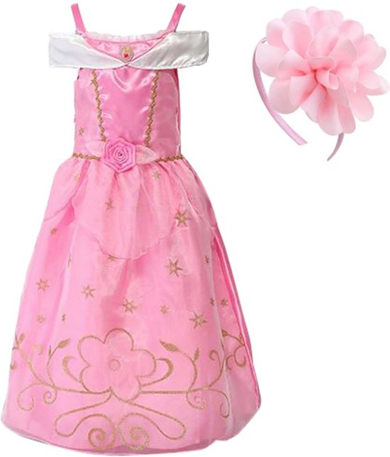 d184985ea1e5c0 Doornroosje jurk Prinsessen jurk verkleedjurk 104-110 (110) roze goud met  broche +