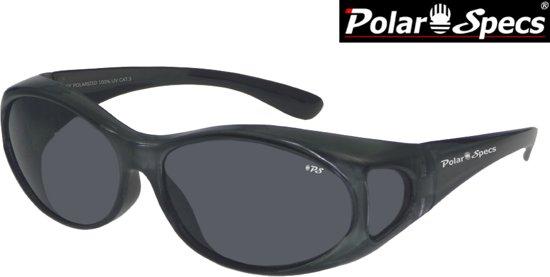 f755dd810ea608 Polar Specs® Overzet Zonnebril PS5076 – Metallic Grey – Polarized Black –  Medium – Women