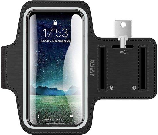 Hardloop Armband Zwart met Sleutelhouder - Hardloop band met Smartphone Houder / Watervrij, Reflecterend, Verstelbaar, Koptelefoon Aansluitruimte - Universele Sportband Smartphone Hardloopband - Sportband - Hardloopband