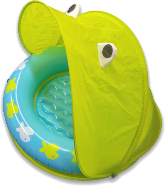 Opblaasbaar Buiten Babyzwembadje met Zonnebescherming en Opbergzak – Vanaf 18 Maanden – UPF 40 – 10L – 107x97x74 CM – Groen | Kikker Babyzwembad met Zonnescherm | Zonbescherming Kids | Opblaasbare Babybadje met Schaduw