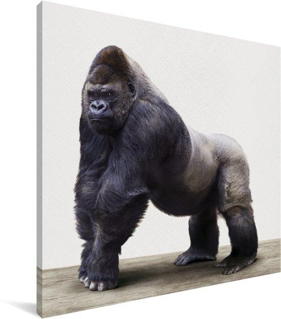 Gorilla dierenprint kinderkamer Canvas 20x20 cm - Foto print op Canvas schilderij (Wanddecoratie woonkamer / slaapkamer)