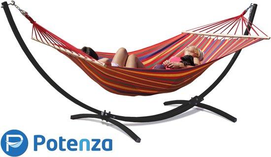 Potenza Grande- Tweepersoons Hangmatset / 2-persoons Hangmat met standaard ( zwart)