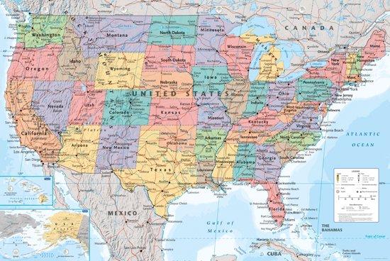 bol | verenigde staten van amerika kaart-usa-poster- 61x91.5cm