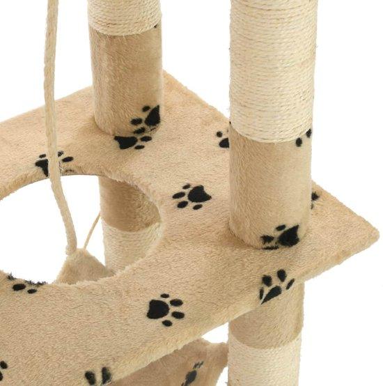 vidaXL Kattenkrabpaal met sisal krabpalen 140 cm pootafdrukken beige