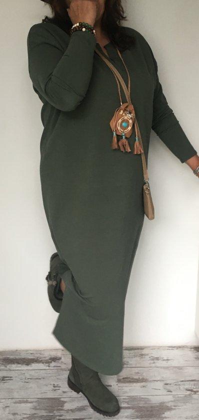 a5a7983aadb2d2 winter dames jurk groen en zwart plus size