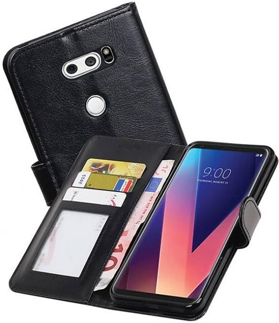 Mobieletelefoonhoesje.nl - LG V30 Portemonnee Hoesje Booktype Wallet Case Zwart in Damme