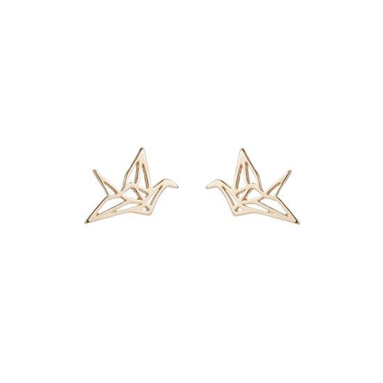 24/7 Jewelry Collection Origami Kraan Vogel Oorbellen - Kraanvogel - Goudkleurig