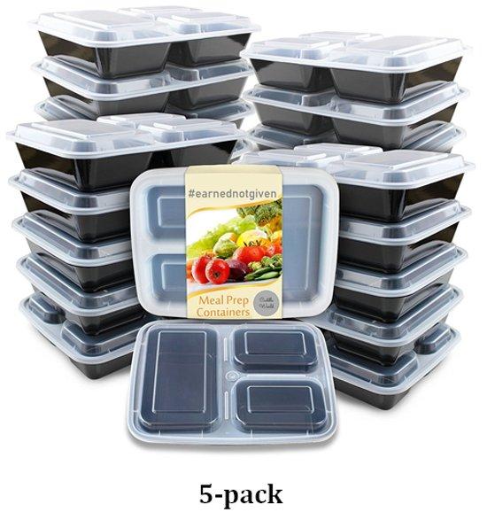 Vershoudsdoos -Stevige stapelbaar | Mealprep box met deksel | 3 afgesloten compartimenten | Lekvrije lunch container| BPA vrij | ook geschikt voor Meal prep  - 5-pack