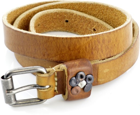 Kidzzbelts Meisjeskinderriem Jeans 1807 - Naturel - 85 cm