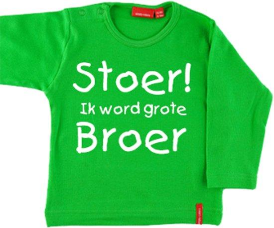 T-shirt lange mouw    Hoera! ik word grote broer  groen   maat 74/80