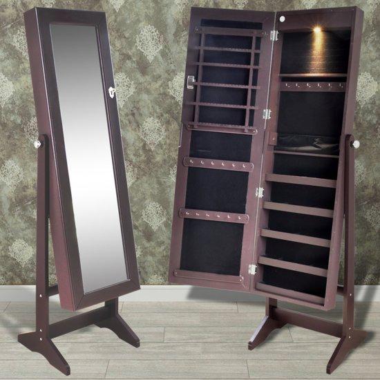 Sieradenkast met LED-lamp en spiegeldeur (bruin)