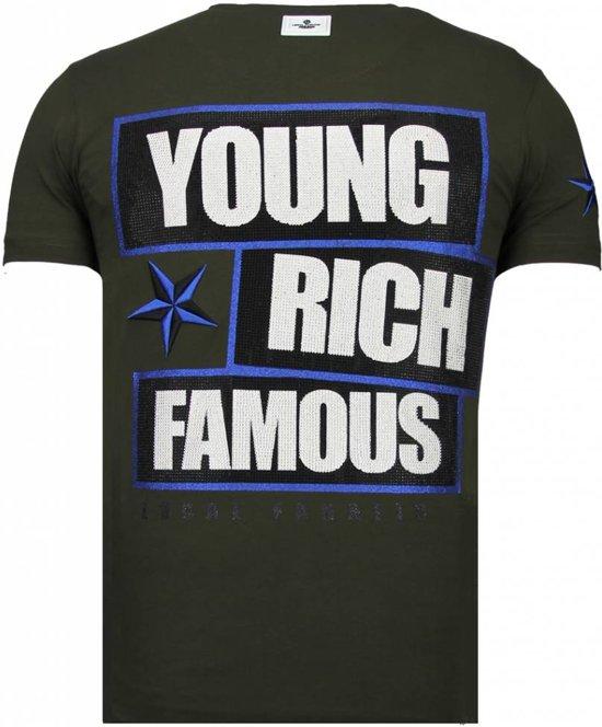 Fanatic FamousRhinestone Khaki shirt Local Young Rich T MatenL l135TuKJFc