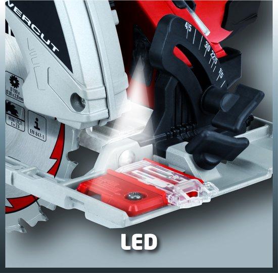 Einhell TE-CS 190 Handcirkelzaag - 1500 W - Zaagblad: Ø190 x Ø30 mm / 24 T - LED-verlichting - Groot 2e handvat - Parallelaanslag - Zaaglijngeleider - Stofzuigeraansluiting - Softgrip