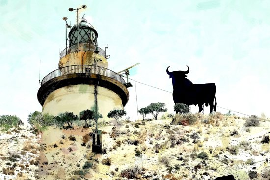 Vuurtoren in Malaga stad en de stier op de berg in Torre del Mar / Velez Malaga in Spanje, Andalusië   abstract, modern, sfeer   Foto schilderij print op Glas (plexiglas wanddecoratie)   60x40cm