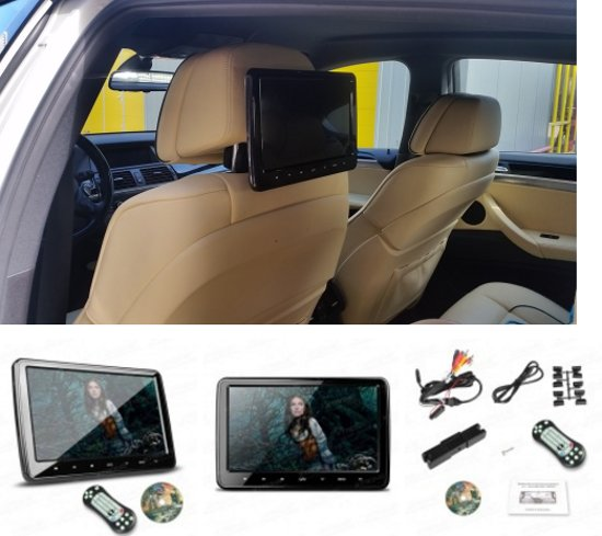 dvd hoofdsteunen auto scherm / SD / Usb speler  MAZDA MPV 1999-2005; Premasy 1999-2005 / HAIMA Freema 2006-2009 in Lekkum