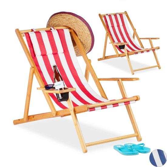 Bol Com Strandstoel.Relaxdays Strandstoel Set Van 2 Ligstoel Tuinstoel Inklapbaar Gestreept Rood Strip