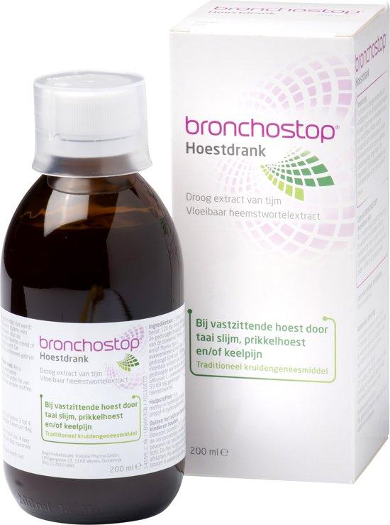 Bronchostop Hoestdrank - helpt bij vastzittende hoest, kriebel- en prikkelhoest en keelpijn - Suikervrij - 200ml