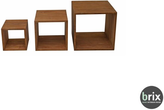 Bijzettafel Kubus Teak.Bol Com Brix Set Of 3 Teak Cubes 3 Bijzettafels Van Teak